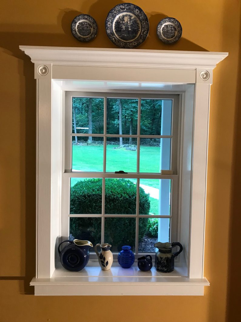Custom Made Trim With Rosettes And Crown Molding Img 1294 We Refinished This Deep Sill Painted Window