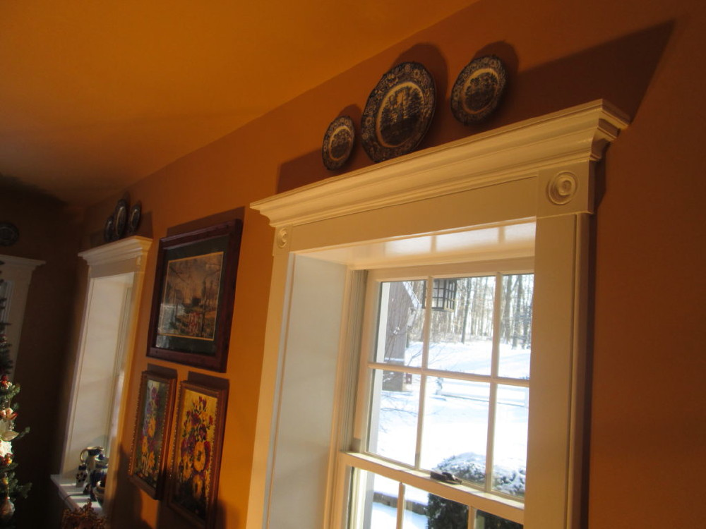 Deep Sill Windows With Crown Molding Trim 0009 A And Rosettes On Home In Quakertown Pa